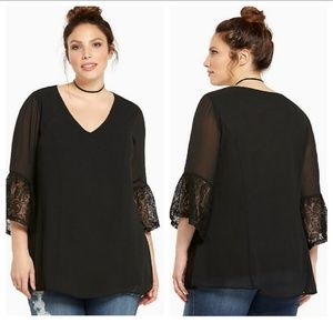 Torrid Crepe and Lace Bell Sleeved Blouse